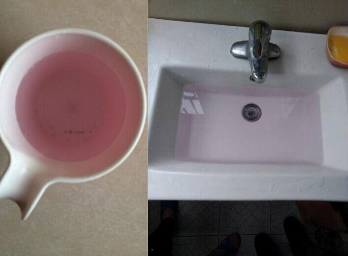 自来水流出粉色水物云清水器号令饮水宁静